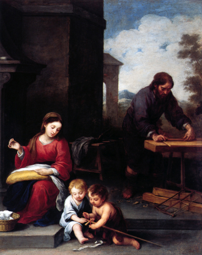 """The Holy Family with St. John in Carpenter's Shop"" – Bartolomé Esteban Murillo"